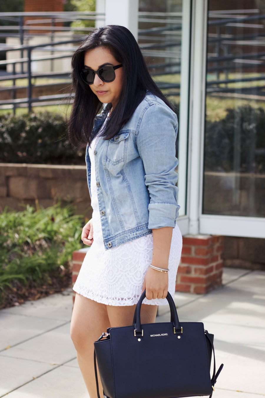 white lace dress jacket outffit